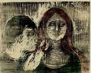 Edvard Munch,Baiser sur les cheveux, 1915
