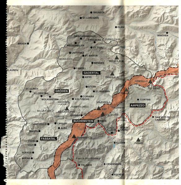 – – – Linea approssimativa del fronte austriaco – ∙ — Linea approssimativa del fronte italiano – – – Confine prebellico fra Austria e Italia