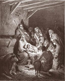 La Natività. Incisione di Gustave Doré, da La Galleria BIblica di G. Doré
