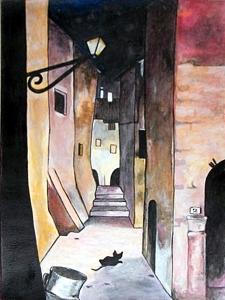 """Acrilico su cartoncino della copertina """"La città vecchia – Delitto di paese"""" di Fabrizio De André"""