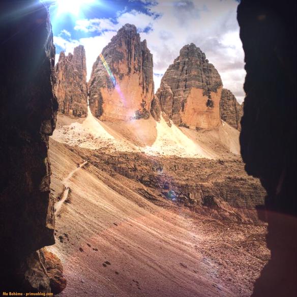 Tre cime di Lavaredo viste da una trincea austrica