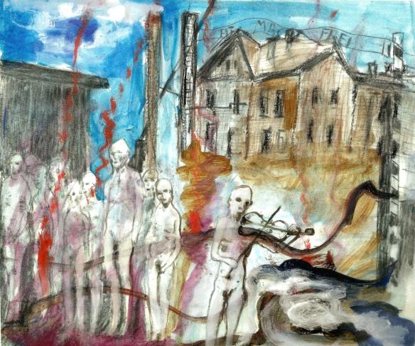 Graziella Borgna, Auschwitz, acrilico/carta